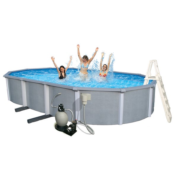 Zanzibar Oval 54-inch Deep, 8-inch Top Rail Hybrid Above Ground Pool Package