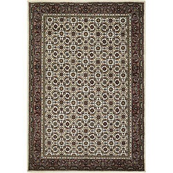 "Hand-Knotted Mandara Ivory Wool Area Rug (5' x 7'6"")"