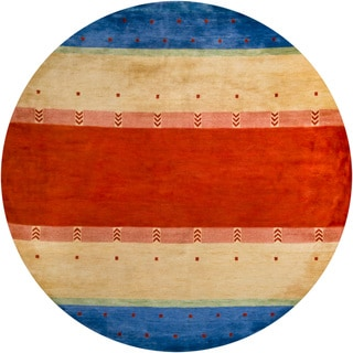 Artist's Loom Hand-knotted Contemporary Stripes Wool Rug (7'9 Round)