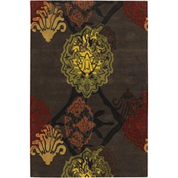 Hand-Tufted Mandara Brown/Green/Red Wool Rug (7'9 x 10'6)