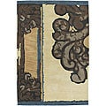 Hand-Tufted Abstract Mandara Ivory Wool Rug (7'9 x 10'6)