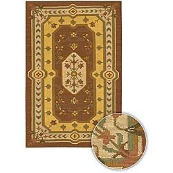 Hand-woven Mandara Brown Wool Rug (5' x 7'6)