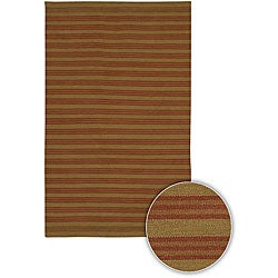 Hand-woven Flat-weave Mandara Brown Wool Rug (5' x 7'6)