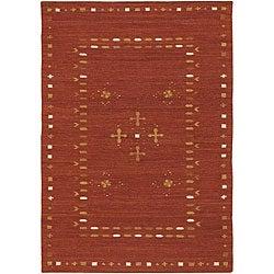 Hand-woven Flat-weave Mandara Red Wool Rug (5' x 7'6)