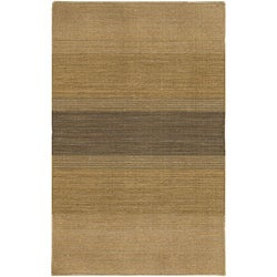 Hand-woven Flat-weave Mandara Gold Wool Rug (7'9 x 10'6)