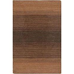Hand-woven Mandara Red Stripe Wool Rug (7'9 x 10'6)