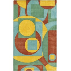 Hand-tufted Mandara Multi-color Wool Rug (5' x 7'6)