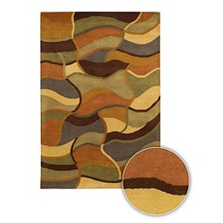 Desaturated Abstract Hand-tufted Mandara Contemporary Wool Rug (5' x 7'6)