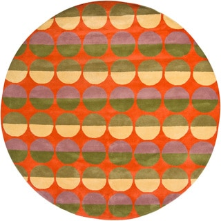 Hand-Tufted Bright Mandara Wool Rug (7'9 Round)
