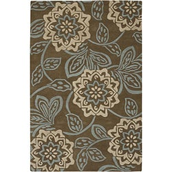 Hand-Tufted Green Transitional Mandara Wool Rug (5' x 7'6)