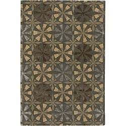 Hand-Tufted Mandara Green Floral Wool Rug (7'9 x 10'6)