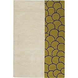 """Hand-Tufted Mandara Modern Beige Wool Rug (7'9"""" Round)"""