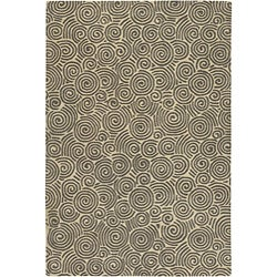 Hand-Tufted Mandara Beige Wool Rug with Geometric Design (5' x 7'6