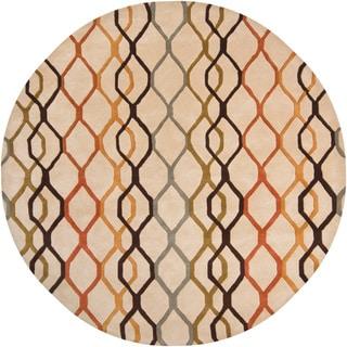 Hand-tufted Mandara Beige Wool Rug (7'9 Round)