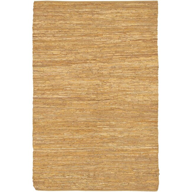 Hand-woven Flat-weave Mandara Leather Rug (3'6 x 5'6)