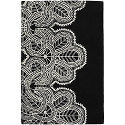Hand-Tufted Mandara Black-and-White Wool Rug (5' x 7'6)