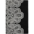 "Contemporary Hand-Tufted Mandara Black Wool Rug (7'9"" x 10'6"")"