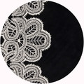 Hand-Tufted Mandara Abstract Black Wool Rug (7'9 Round)