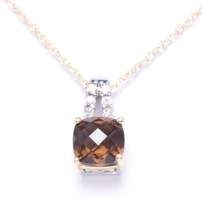 10k Yellow Gold/ Sterling Silver Smokey Quartz Necklace
