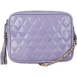 Made in Italy Patent Leather Lilac Quilted Shoulder Bag