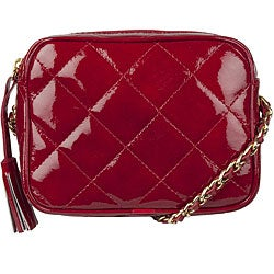 Made in Italy Patent Leather Red Quilted Shoulder Bag