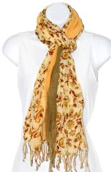 Handspun Multipanel Sage Cotton Gauze Floral Print Scarf (India)