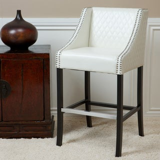 Christopher Knight Home Milano Ivory Quilted Bonded Leather Bar Stool