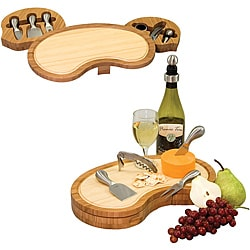 Picnic Time Mariposa Bamboo Cheese Board with Wine and Cheese Accessories