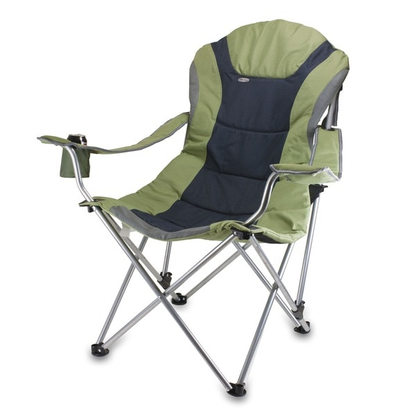 Picnic Time Sage Green Steel Frame Polyester Reclining Camp Chair