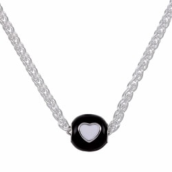 Sterling Essentials Sterling Silver 16-inch Black and White Heart Bead Necklace