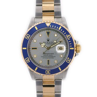 Pre-Owned Rolex 16613 Men's 'Slate Serti' Two-tone Stainless Steel Watch