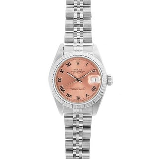 Pre-owned Rolex 69174 Women's Datejust White Gold Salmon Dial Watch