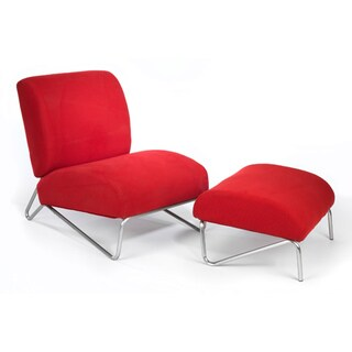 The Easy Rider Red Microdenier Chair/ Ottoman