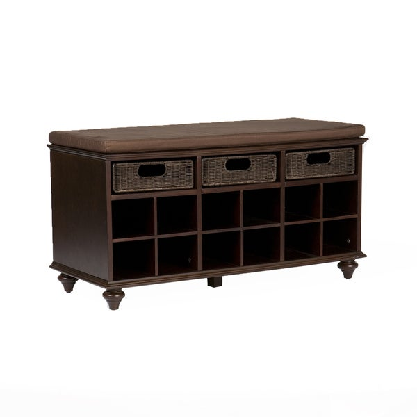 Upton Home Kelly Espresso Brown Shoe Bench