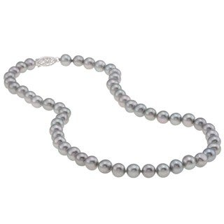 DaVonna Silver Grey FW Pearl 16-inch Necklace (7.5-8 mm)