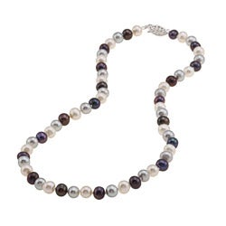 DaVonna Silver Dark Multi FW Pearl 16-inch Necklace (6.5-7 mm)