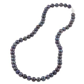 DaVonna Sterling Silver 6.5-7mm Black Freshwater Pearl Necklace (16-36 inches)