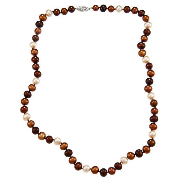 DaVonna Sterling Silver 6.5-7mm Multi Chocolate Freshwater Pearl Necklace (16-36 inches)