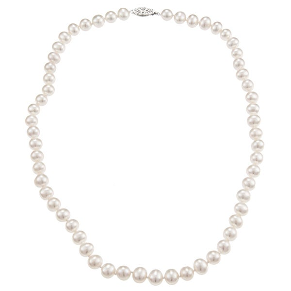 DaVonna Sterling Silver 7-7.5mm White Freshwater Pearl Necklace (16-36 inches)