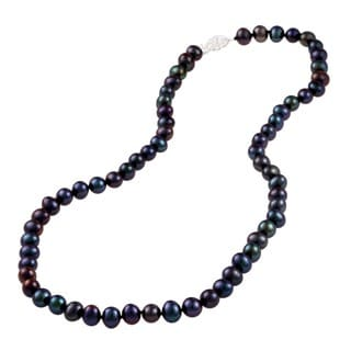 DaVonna Sterling Silver 7-7.5mm Black Freshwater Pearl Necklace (16-36 inches)