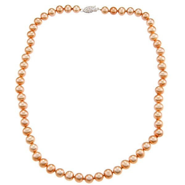 DaVonna Sterling Silver 7-7.5mm Gold Freshwater Pearl Necklace (16-36 inches)