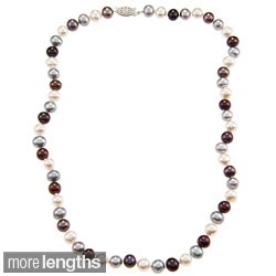 DaVonna Silver 7-7.5mm Dark Multi FW Pearl Necklace (16-36 in) with Gift Box