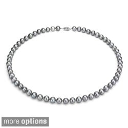 DaVonna Silver Grey 7-7.5mm Freshwater Pearl Necklace (16-36 in) with Gift Box