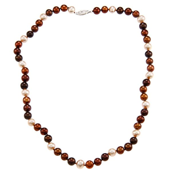 DaVonna Sterling Silver 7-7.5mm Multi Chocolate Freshwater Pearl Necklace (16-36 inches)