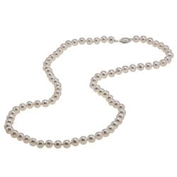 DaVonna Silver High Luster White FW Pearl 24-inch Necklace (7-7.5 mm)