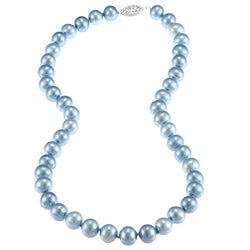 DaVonna Silver Blue FW Pearl 16-inch Necklace (7.5-8 mm)