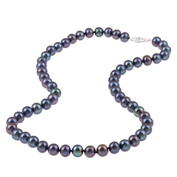 DaVonna Sterling Silver 7.5-8mm Black Freshwater Pearl Necklace (16-36 inches)