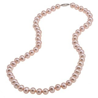 DaVonna Sterling Silver 7.5-8mm Pink Freshwater Pearl Necklace (16-36 inches)