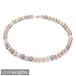 DaVonna Sterling Silver 7.5-8mm Pink Multi FreshwaterPearl Necklace (16-36 inches)