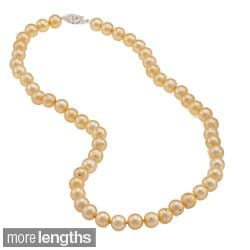 DaVonna Sterling Silver 7.5-8mm Gold Freshwater Pearl Necklace (16-36 inches)